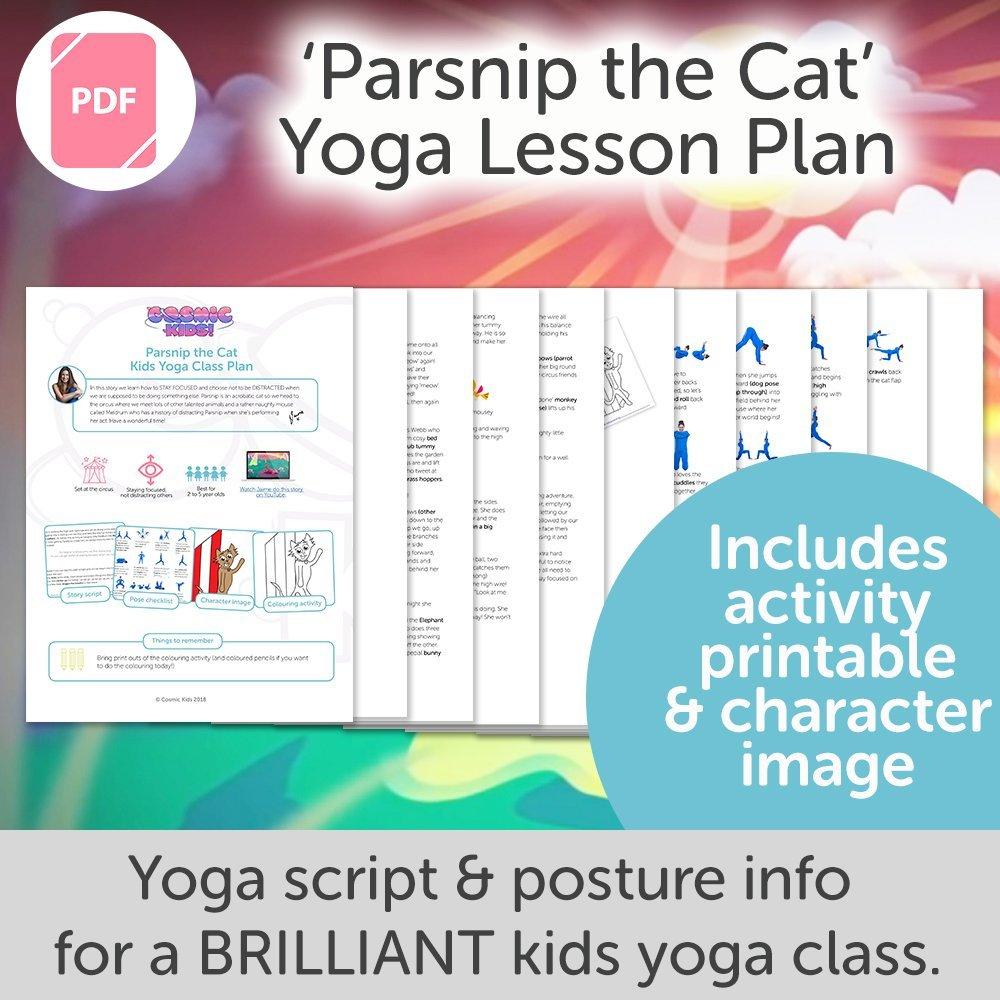 a6d635dfbc Parsnip the Cat Kids Yoga Class Plan - NEW STYLE! - Cosmic Kids Yoga