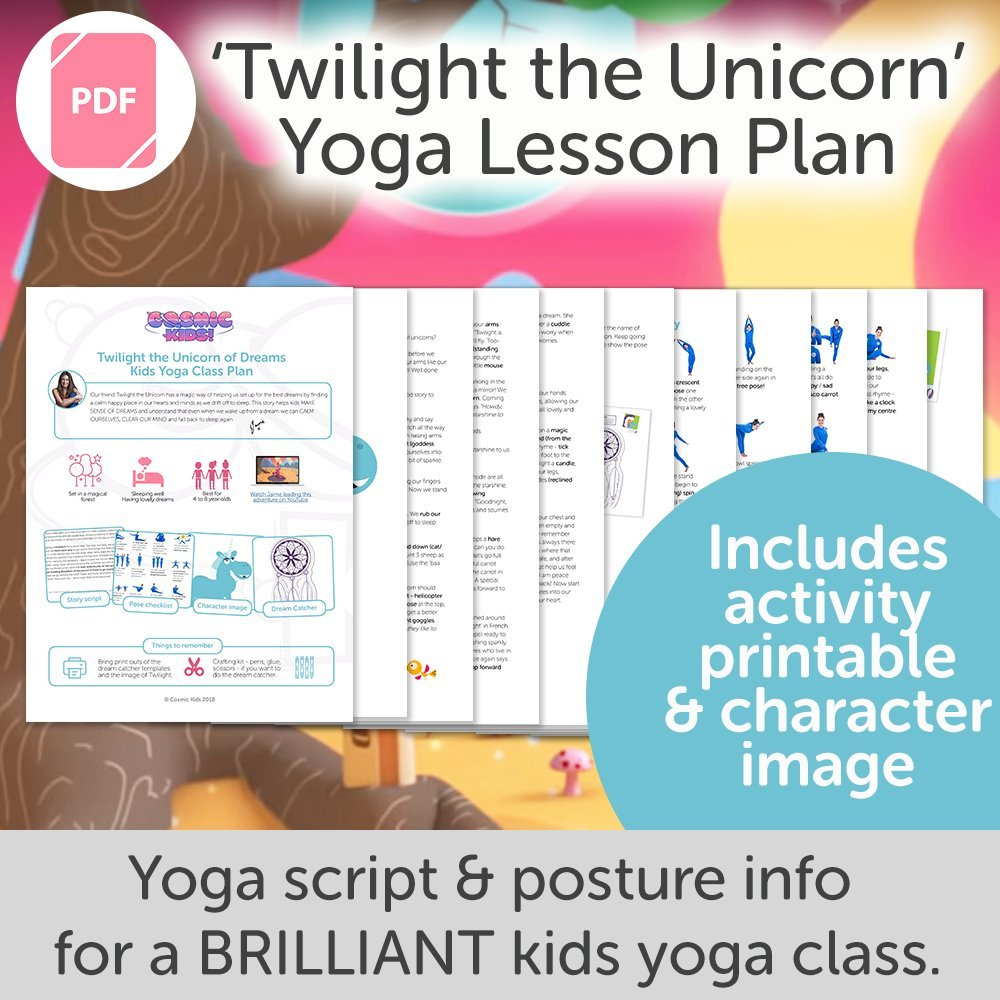 Twilight the Unicorn Kids Yoga Class Plan - NEW STYLE!