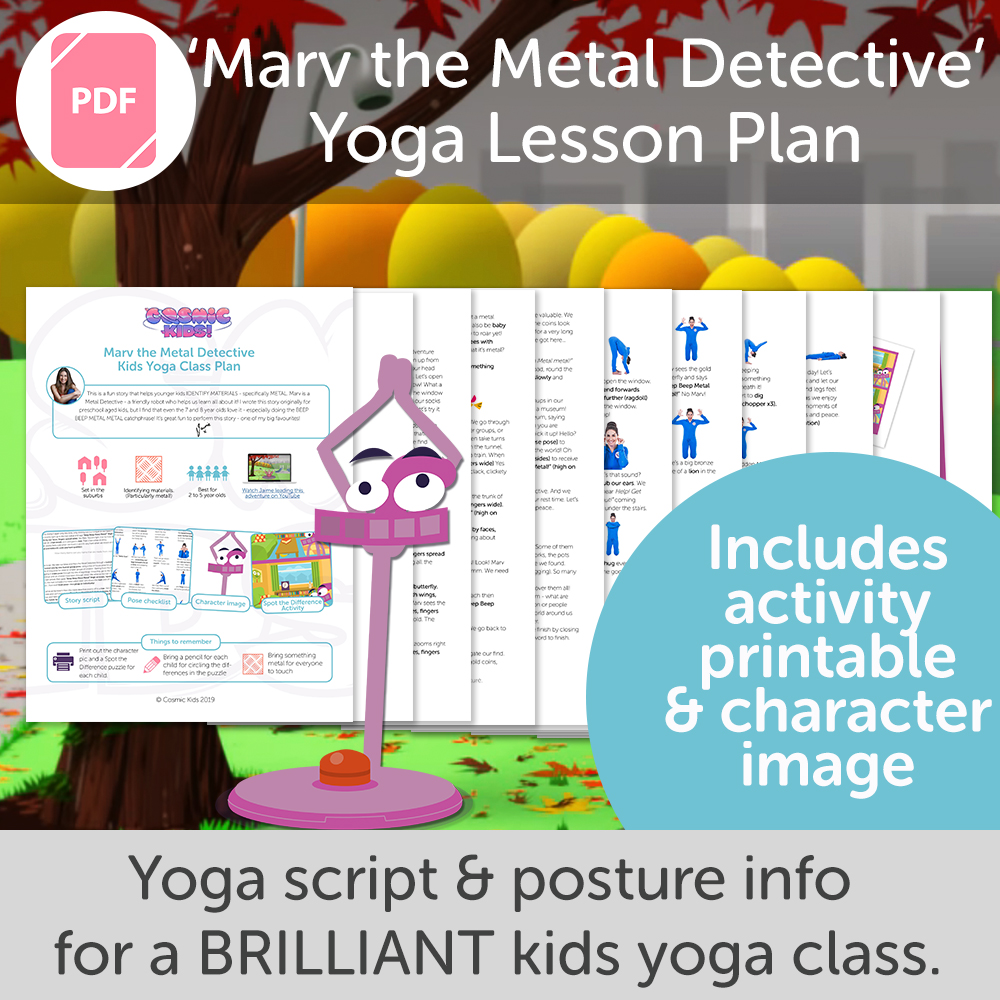 picture regarding Printable Yoga Poses for Preschoolers named Marv the Steel Detective Small children Yoga Cl Program Fresh Design!